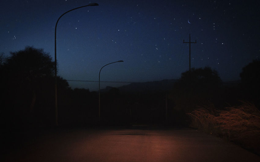 Sky Night Street Light Street Tree No People Nature Star - Space Plant Space Astronomy Beauty In Nature Silhouette Moon Scenics - Nature Dusk Outdoors Dark Lighting Equipment Tranquility