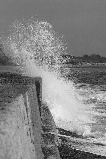 Surf's Up Surf Blackandwhite Breaking Crash Force Hitting Motion Outdoors Power In Nature Sea Splashing Water Wave