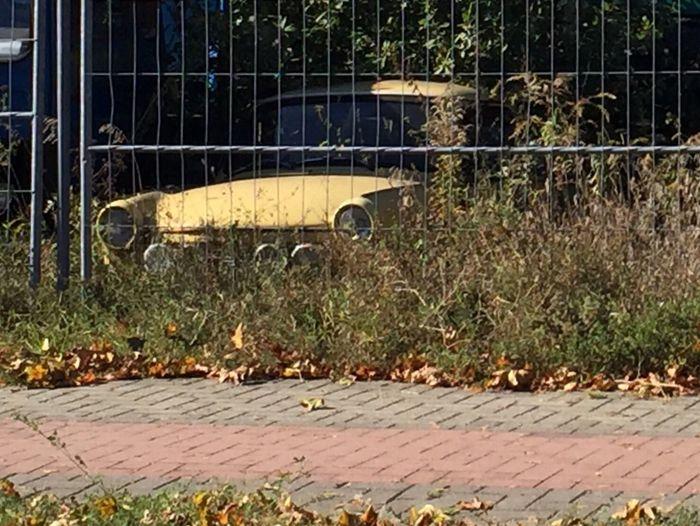Alter Trabbi auf einem Schrottplatz ... Old Car Trabant DDR Rennpappe Eingewachsen scrapyard Ingrowing