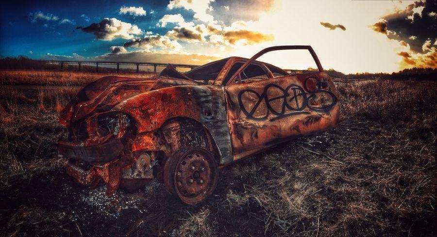 BurntOut new blue sky editions Rusty Vandalism Crime Cars Viaduct Abandoned