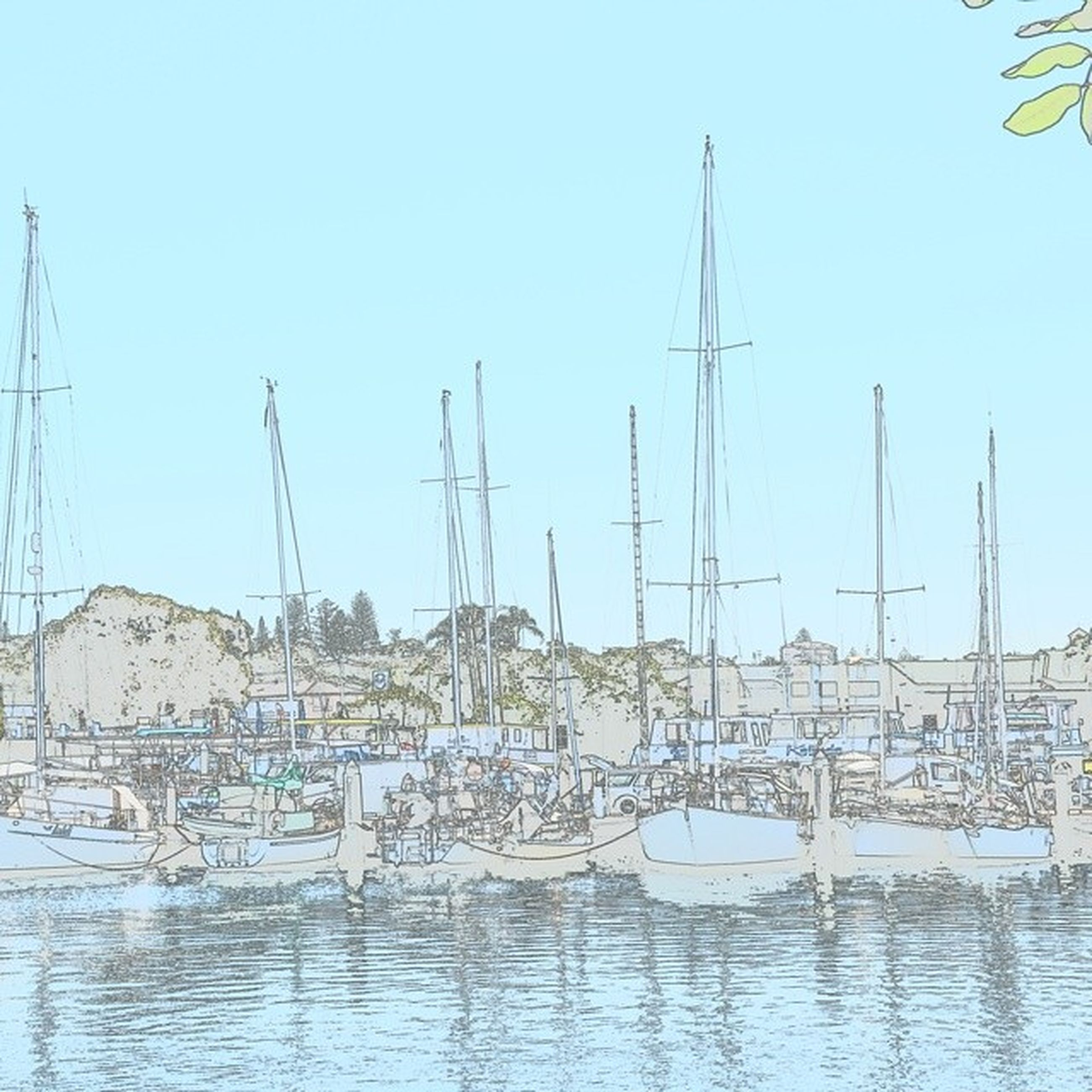 water, clear sky, nautical vessel, moored, transportation, built structure, mode of transport, boat, harbor, building exterior, waterfront, architecture, copy space, lake, mast, day, river, sailboat, nature, outdoors