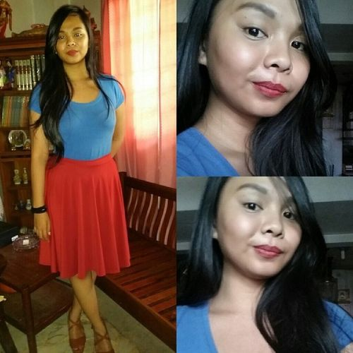 Red and blue, just like SuperGirl! ? Thanks to @fashionistaseller for my red midi skirt! Supergirlpeg Fnh Midiskirt Cmgeedge selfie mystylemyfashion
