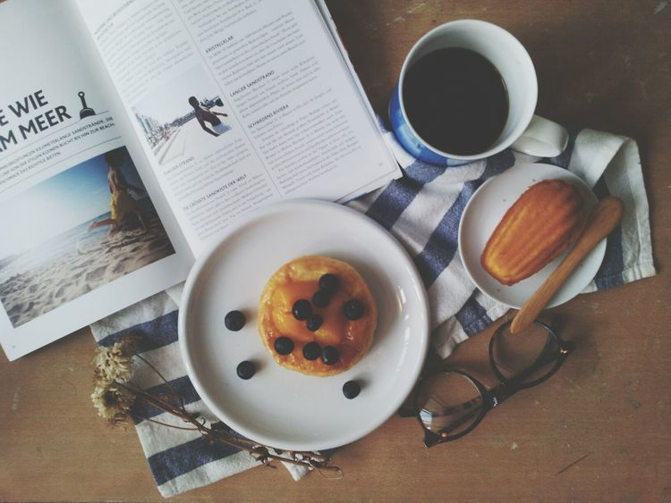 Peach Tart & Madeleine with Coffee.Coffee Break In My Mouf Food Porn Treats