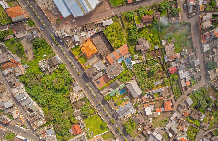 Banos De Agua Santa Drone Neighborhood View, Tungurahua Province, South America Aerial Aerial Photography Aerial Shot Aerial View Architecture Car Center City City City City Life City Life Cityscape Cityscape Community Day Drone  Dronephotography Droneshot Green Color Housing Development No People Outdoors Road Summer Sunlight