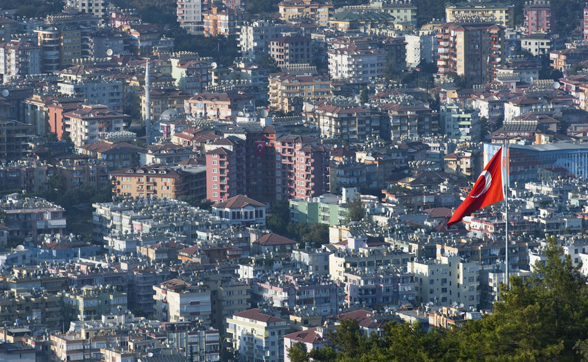 High angle view of turkish flag against cityscape