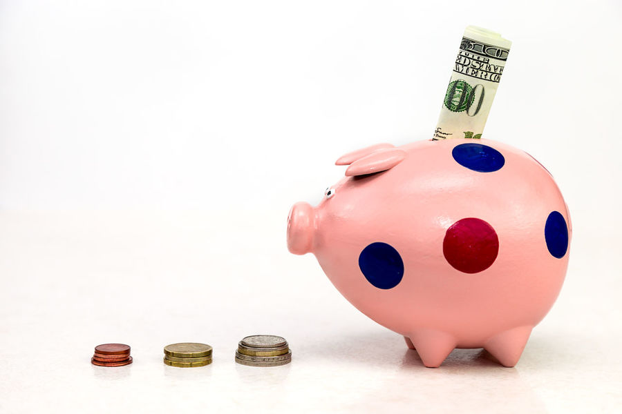 piggy bank and stack of coins on white background Profit Save Financial Piggy Money Box Rich Pig Gift Toy Toy Pig Ceramic Money Dollar Loan  Retirement Income Financial Planning Investment Care Free Background Free Space Tax Finance Piggy Bank Wealth Savings White Background Currency Coin No People