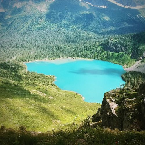 Grinnell Lake. Glacier National Park Montana Grinnell Lake Water Tranquil Scene Beauty In Nature Turquoise Colored Mountains Landscape Majestic Stunning