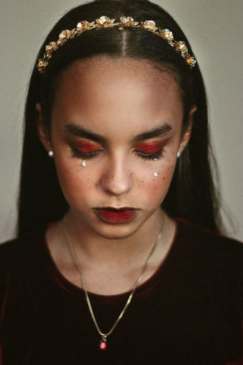 Red Velvet, 2017 Fashion Makeup Red Tiara Art Beauty Close-up Closeup Conceptual Photography  Dark Beauty Eyelashes Front View Girl Gold Colored Indoors  Jewelry Lifestyles One Person Real People Tears Young Adult Young Women Fresh On Market 2017 The Fashion Photographer - 2018 EyeEm Awards