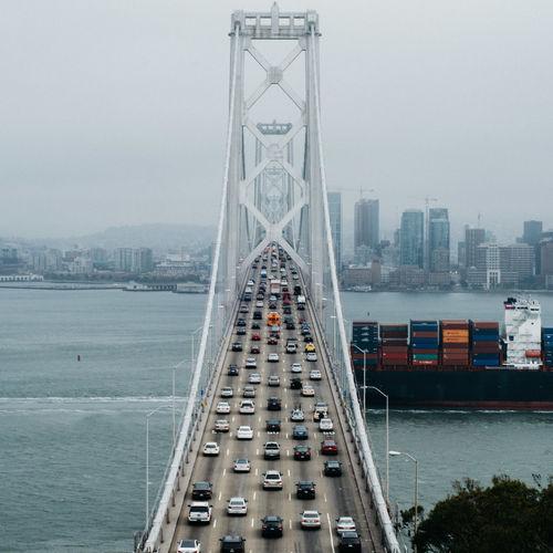 High angle view of bay bridge