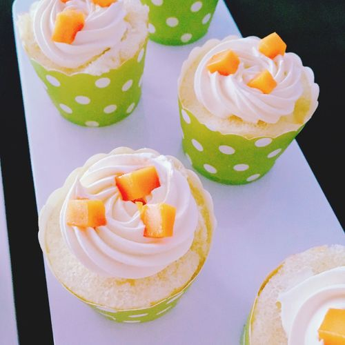 Close-up of homemade cupcakes with copy space
