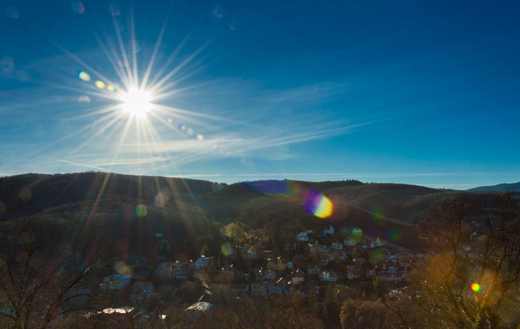 Aerial View Astronomy Beauty In Nature Blue Sky Dreamlike Drone  Galaxy Illuminated Landscape Lens Flare Mountain Nature Nikon D3200 No People Outdoors Scenics Schloss Werningerode Sky Star - Space Sun Sunbeam Sunlight Sunny Day Tranquility Tree