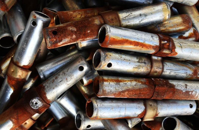 Brown Pile Stack Scaffolding Rusty Rustic Rust Steel Metallic Metal Abandoned Damaged Weathered