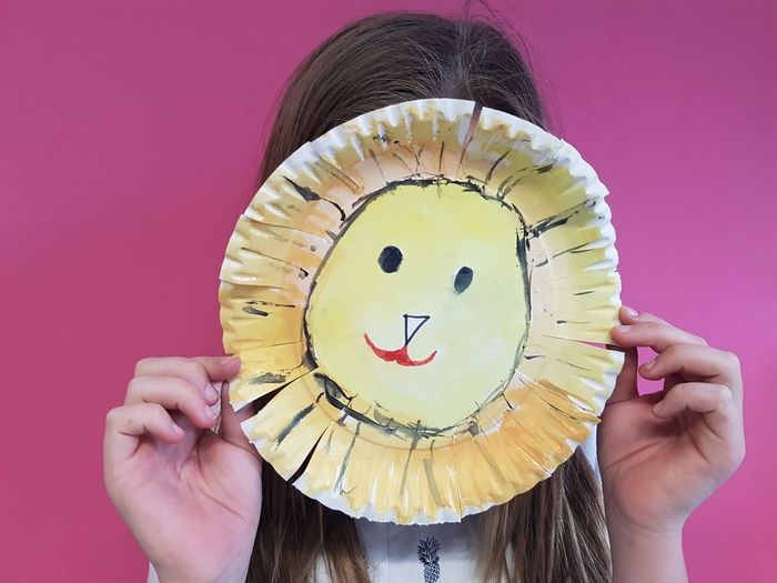 Arts And Crafts Disguise Kids Pink Artsy Photography Discovery Easy Crafts Holding Human Body Part Indoors  Kids Crafts Kids Mask Kidsphotography Lion Mask Mask Mask - Disguise One Person Paper Plate Paper Plate Mask Pink Color Real People