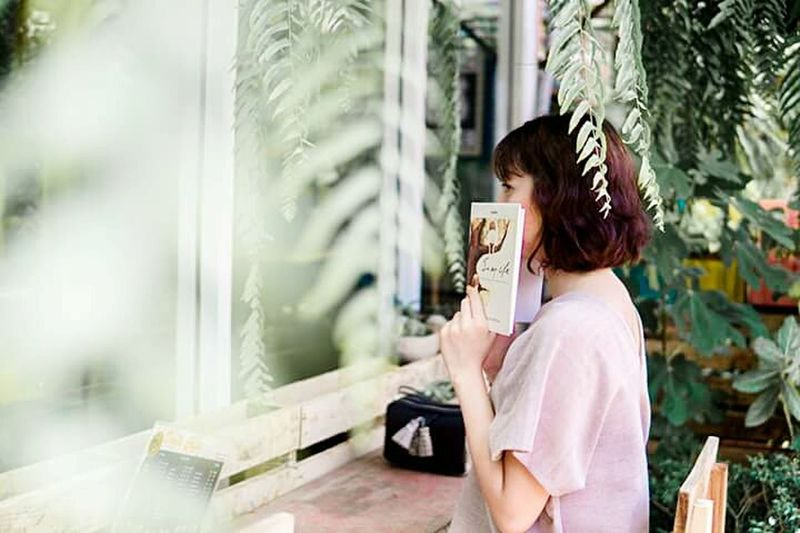 One Person Coffee - Drink Looking Only Women Book Table Minimal Beauty Coffee Shop Alone Nature Garden