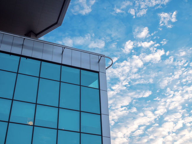 Forlanini 23 Angles And Lines Architecture Blue Blue Sky Blue Sky And Clouds Building Corner Building Exterior Building Windows Built Structure City Cloud - Sky Corner Building Day Low Angle View Milan Minimal Modern Modern Architecture No People Outdoors Reflection Sky Windows