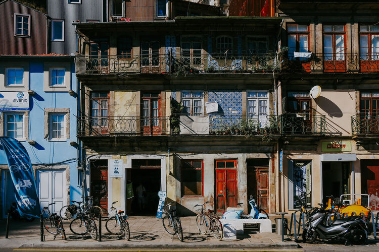 Architecture Built Structure Building Exterior Bicycle Transportation Land Vehicle Street City Porto Portugal Streetphotography Art Sunlight Tiles Colorful Houses Apartment Residential District Window Lifestyles Capture Tomorrow