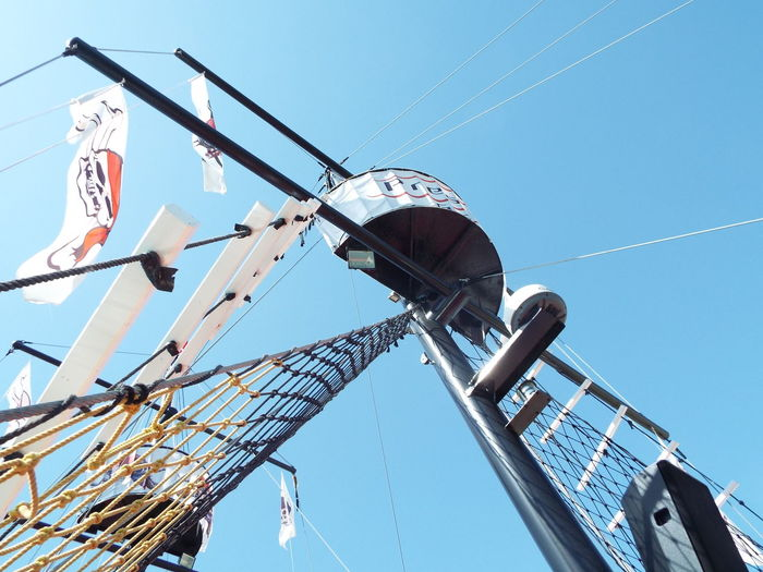 Rope Ladder Flags Mast Blue Sky Blue Boat Jolly Roger Pirate Ship Day Trip Manavgat River On The Way