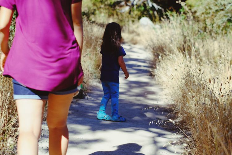 Hiking together at Taylor Mountain Park, USA Child Childhood Two People Girls Casual Clothing People Togetherness Happiness Rear View Outdoors Standing Leisure Activity Only Girls Summer Sunlight Women Only Women California Summertime Hike Family Mother & Daughter USA Fun Shadow