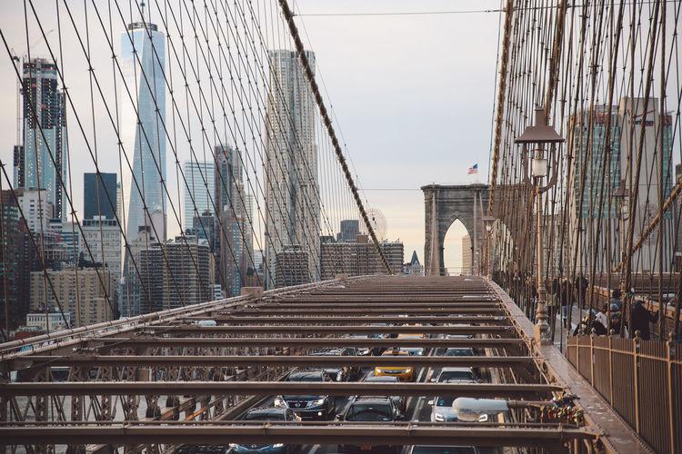 High angle view of brooklyn bridge