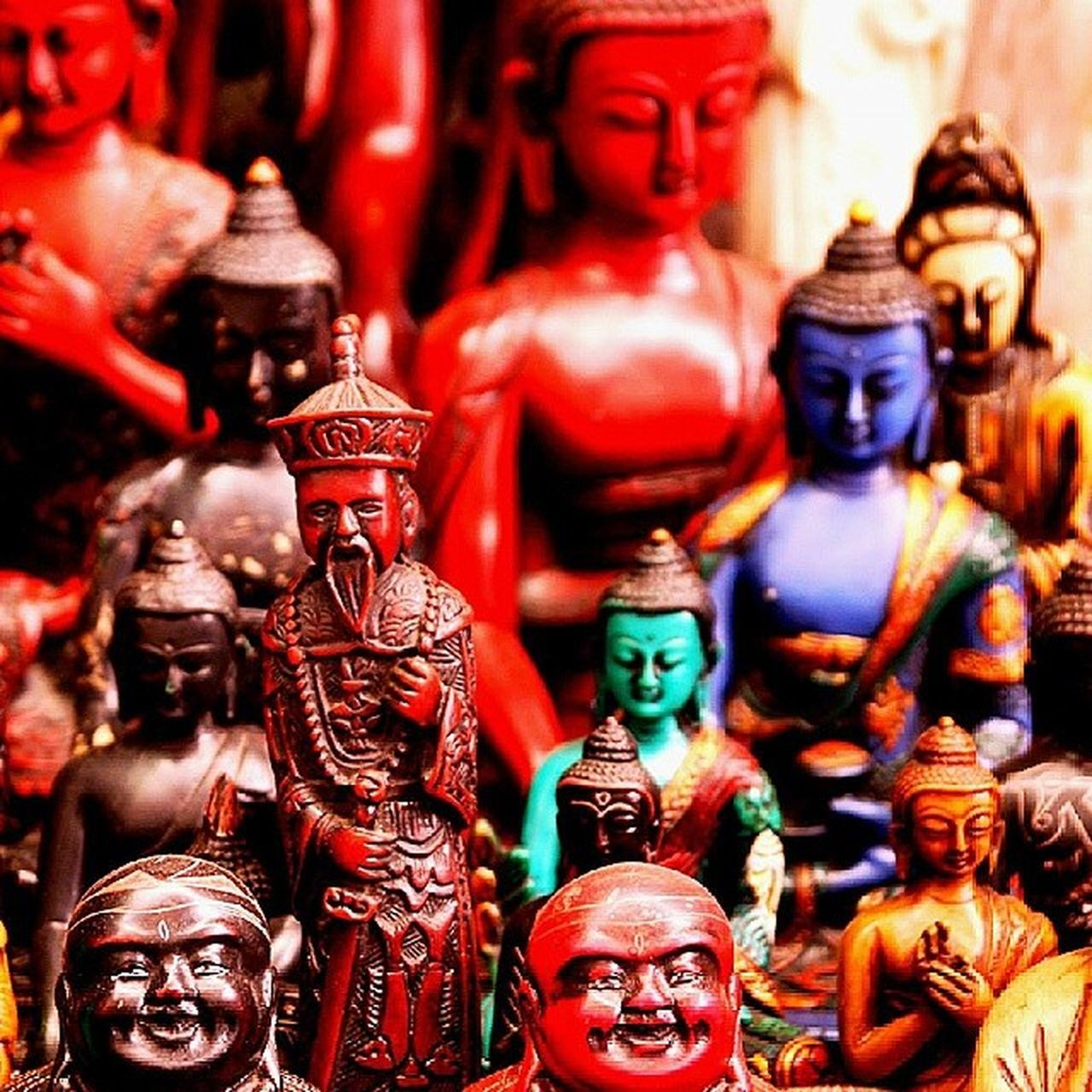 multi colored, statue, no people, focus on foreground, day, indoors, sculpture, close-up