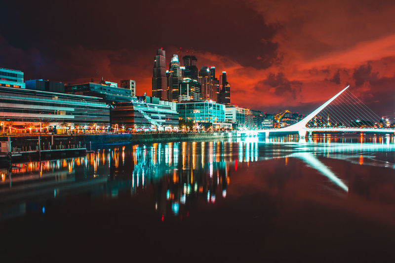 Buenos Aires, Argentina  Puerto Madero, Buenos Aires Architecture Bridge - Man Made Structure Building Exterior Built Structure Cloud - Sky Illuminated Night No People Outdoors Puente De La Mujer Reflection Sky Water Waterfront