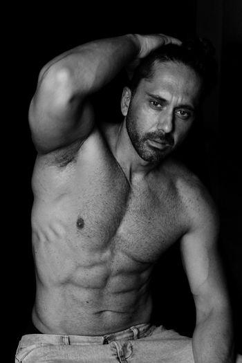Portrait of shirtless man