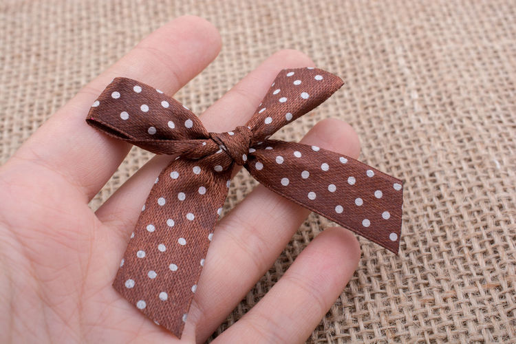 Close-up of hand holding brown tied bow at table