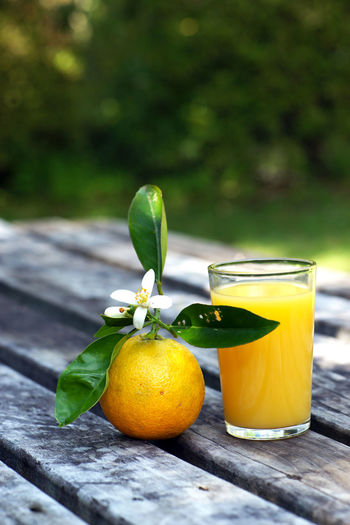Close-up of orange with juice on table