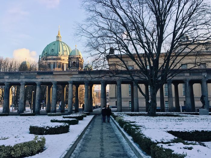Street leading towards berlin cathedral during winter