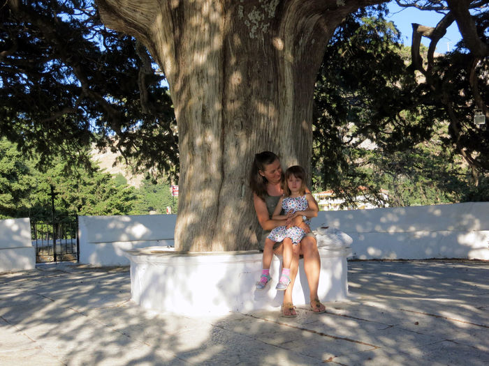 Smiling woman with daughter sitting by tree in park