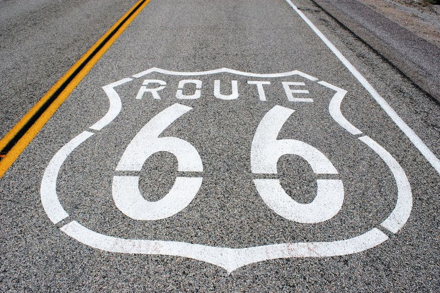 Route 66 Asphalt Route 66 Route 66 Peach Springs Along Route 66 Asphalt Asphalt Pavement Asphalt Road Asphalt Street Communication Day High Angle View No People Outdoors Road Road Marking Road Sign Route 66 Sign Route 66 Symbol Street Transportation California Dreamin