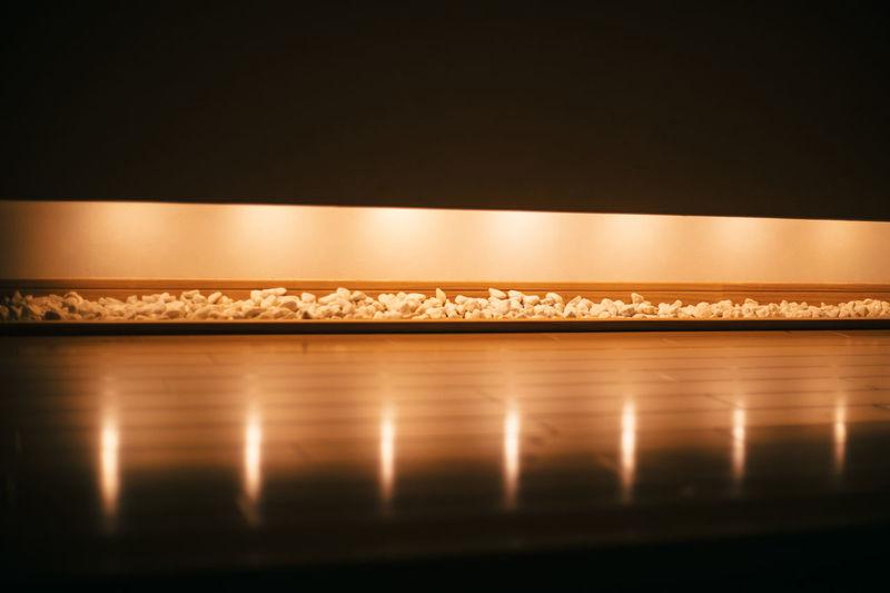 Close-up of illuminated yellow lights