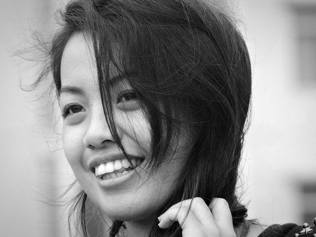 As the wind blows her hair Genuine Smile Everyday Emotion Enjoying Life Eyeem Philippines Taguig Black And White Photography Showcase June