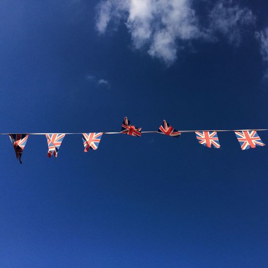 Union jack Union Jack Flags EyeEm Selects Low Angle View Blue Sky Decoration Nature No People Celebration Outdoors Clear Sky