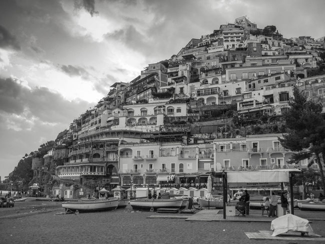 on the beach of Positano Architecture Beautifuldestinations Blackandwhite Building Exterior Built Structure Charming Cloud - Sky EyeEm Gallery Eyem Best Shots Historic Italy Positano Residential Structure Village The Architect - 2016 EyeEm Awards