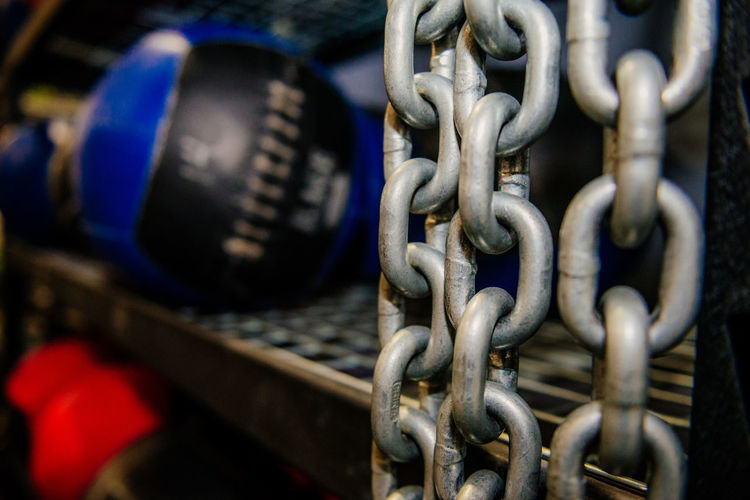 Close-Up Of Chain Hanging By Shelf