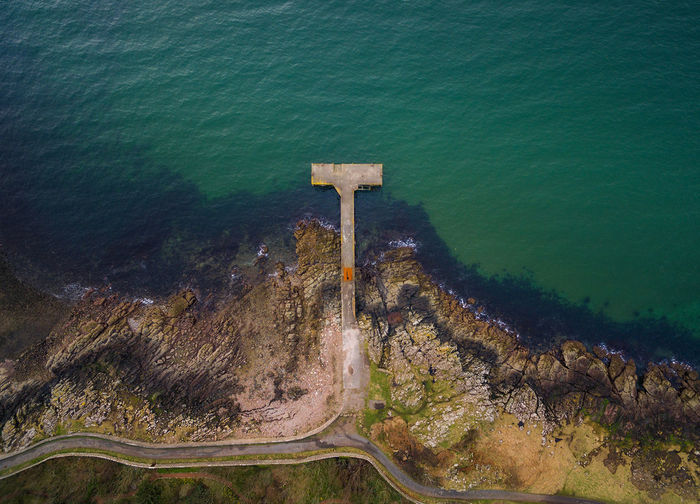 Portencross Pier Water High Angle View Aerial View Scotland Scotland 💕 Dronelife Sea No People Green