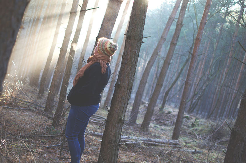 Two sides of a beautiful day. Beauty In Nature Day Fog Foggy Morning Human Hand Lifestyles Men Nature One Person Outdoors People Real People Sky Sun Beams Sunshine Tree Tree Trunk Finding New Frontiers Women Around The World