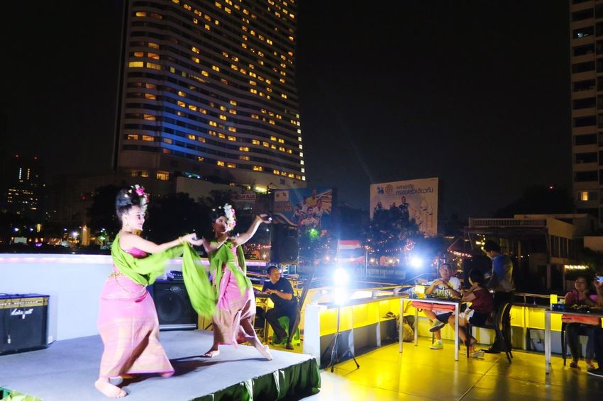Thai Classical Dance Performance Night Cruising Chao Phaya River Spotted In Thailand