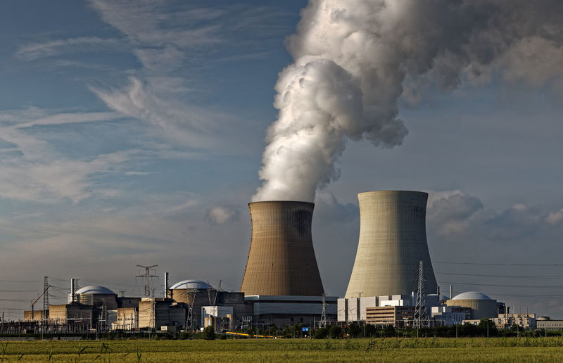 Nuclear power station Doel. Doel Belgium 2014 Atomkraftwerk Doel Belgien Centrale Nucléaire De Doel Belgique Kerncentrale Doel Nuclear Power Station Doel Belgium Chimney Cooling Tower Global Warming Industry Power Station