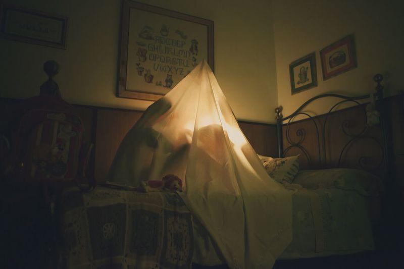 Children Bed Bedroom Curtain Indoors  Home Interior Illuminated Night First Eyeem Photo