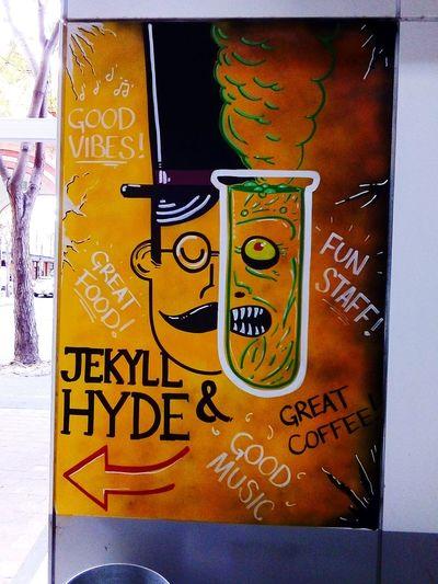 Headshot Hyde St. Adelaide Hyde Street, Adelaide HydeStreet Face Vandalz Streetart PublicArtworks Public Artwork Art ArtWork Dr. Jekyll & Mr. Hyde Sign Jekyll&Hyde Doctor Jekyll, & Mister Hyde JekyllAndHyde Jekyll And Hyde Jekyll & Hyde Notices Commercial Signs Streetphotography Taking Photos Adelaide, South Australia Adelaide Text Close-up Information Western Script Signboard