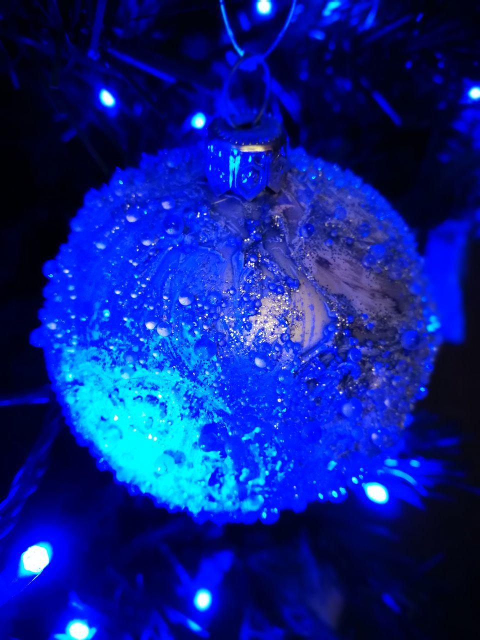 illuminated, blue, christmas decoration, no people, close-up, christmas ornament, indoors, sea life, underwater, night, water, undersea, animal themes