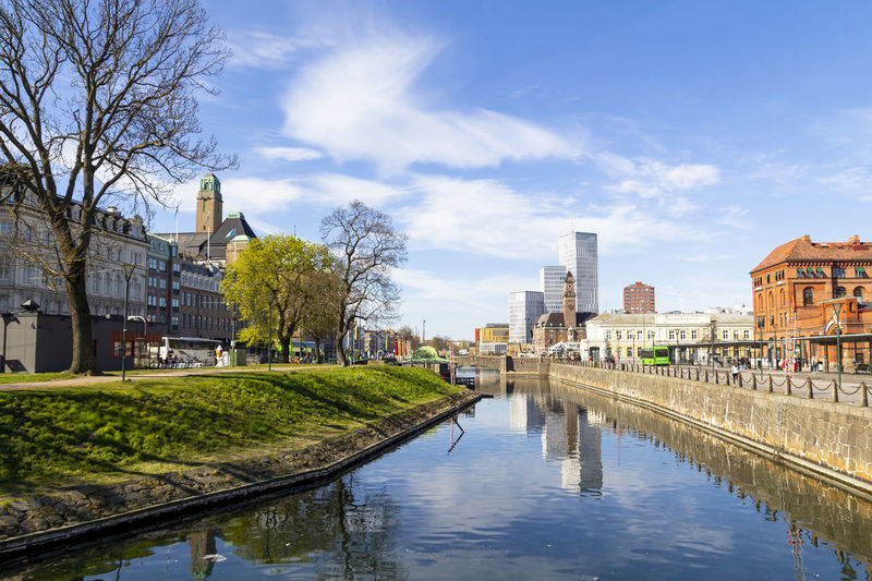 City view of Malmo, Sweden Malmö Sweden Urban Landscape Cityscape Malmoe City Architecture Building House Europe Street Exterior Skyline Downtown Scandinavia Design Blue Modern Sky Travel New Reflection Swedish European  Town Center Water Contemporary Reflect Contrast Old Bridge Hotel Skyscraper Façade Church Canal Central Station Central Station Grass Tree Green
