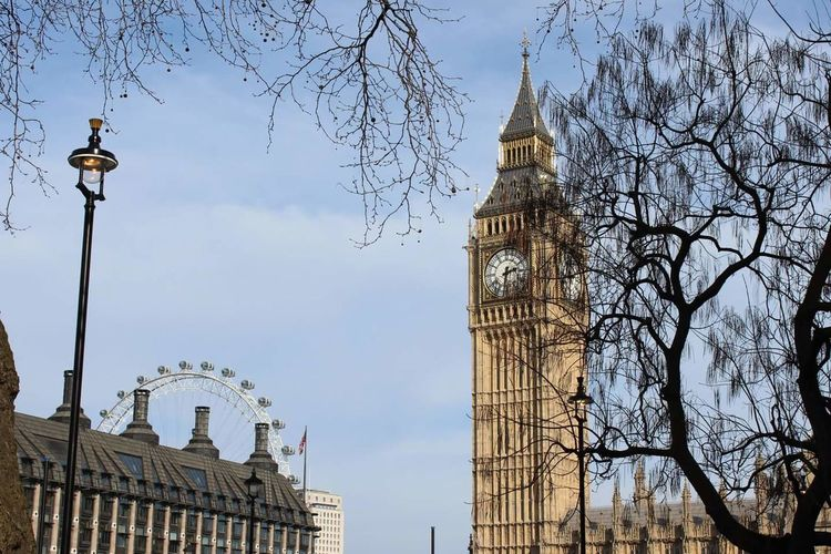 Low Angle View Of Big Ben And London Eye Against Sky