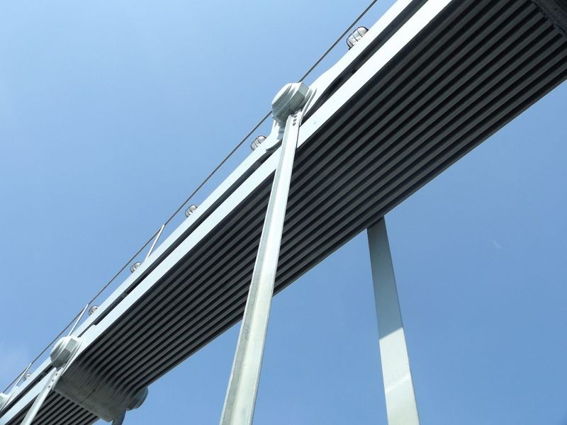 Sky Sky View Bridge Structure Urban Geometry Iron Angle Clean Sky Traveling
