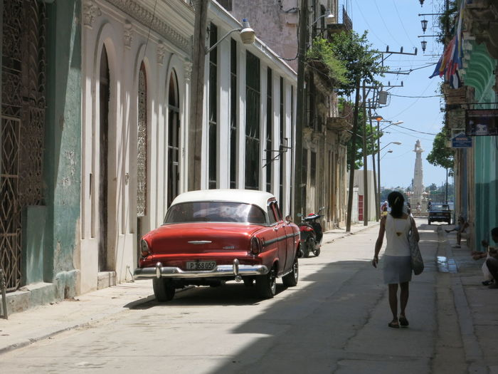 Cars on street in city