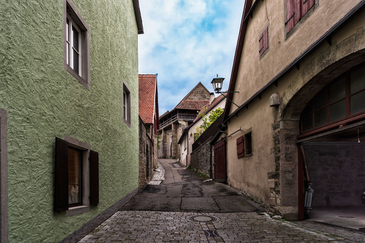 Old alleyway in Rothenburg ob der Tauber in Germany Dark Mystic Alleyway Colorful Hidden Medieval Old Rothenburg