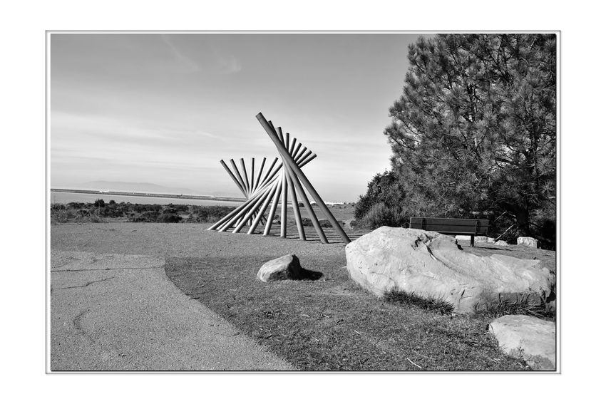Rising Wave 4 Oyster Bay Pt. San Leandro, Ca. Stainless Steel Sculpture 12 Poles Rising Wave Sculptor : Roger Berry Hillside All About Angles Monochrome_Photography Monochrome Bench Black & White Black & White Photography Black And White Black And White Collection  Bnw_friday_eyeemchallenge Scenic Lookout Is It Art? Perspectives Abstract Photography Landscape_Collection Landscape_photography Shadows Boulders Tree