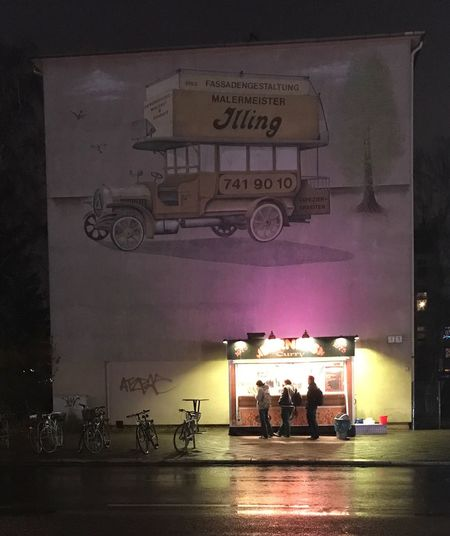 Curry Kiosk Night Mariendorf Waiting Bus Cold Wall Graffiti Lonely Building Berlin Food